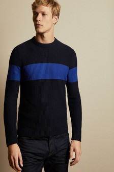 Ted Baker Blue Witnes Ribbed Striped Jumper