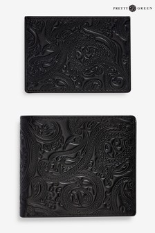 Pretty Green Paisley Embossed Leather Wallet Gift Set