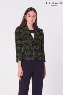 L.K.Bennett Black Italy Single Breasted Tweed Jacket
