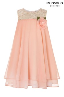 Monsoon Coral Baby Rosie Flare Dress