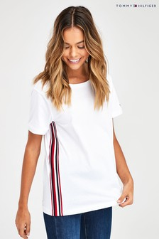 Tommy Hilfiger White Thea Side Stripe T-Shirt