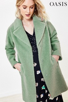 Oasis Green Teddy Coat