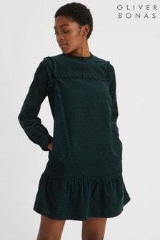 Oliver Bonas Cord Green Frill Detail A-Line Mini Dress