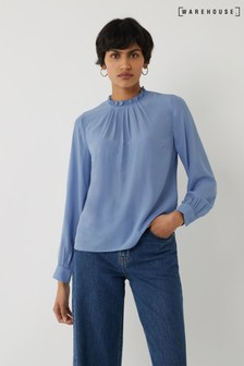 Warehouse Blue Ruffle Neck Top