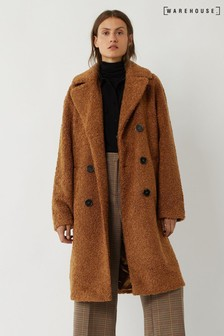 Warehouse Brown Teddy DB Faux Fur Coat