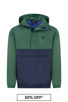 Boys Green & Navy Ripstop Pullover Jacket