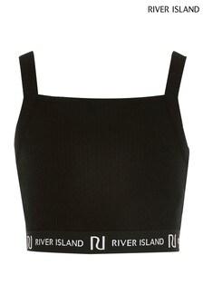 River Island Black Square Neck Crop Top