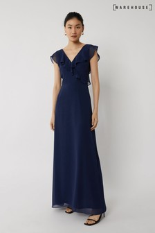 Warehouse Blue Frill Wrap Bridesmaid Dress