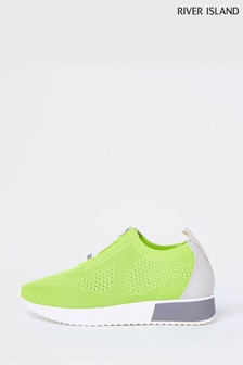 River Island Green Bright Pull-On Runner Trainers