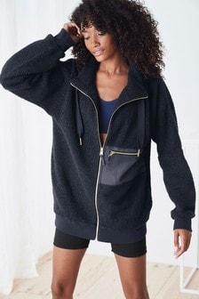 Longline Borg Zip Jacket