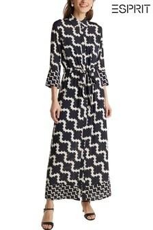 Esprit Black Elegant Belted Maxi Dress