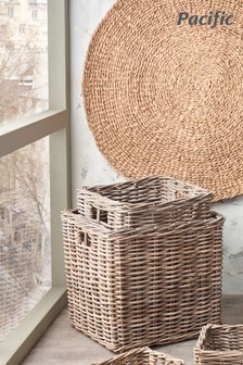 Set of 2 Stacking Kubu Square Storage Baskets by Pacific Lifestyle