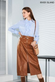 River Island Brown Zip Front Midi Skirt