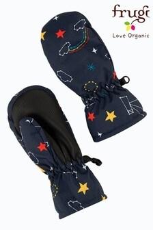 Frugi Blue Recycled Star Print Ski Mittens