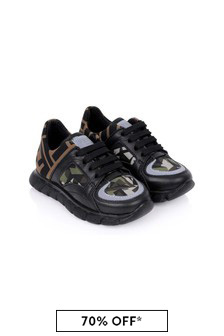Boys Black/Camouflage Trainers