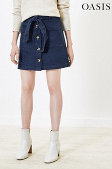 Oasis Blue Button Through Mini Skirt