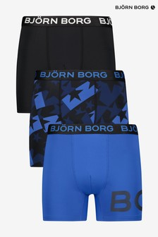 Bjorn Borg 3 Pack Performance Trunks In Solid Black/Blue