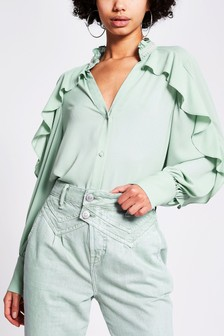 River Island Green Pearl Trim Blouse