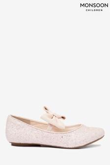 Monsoon Pink Estella Glitter Bow Ballerina Shoes