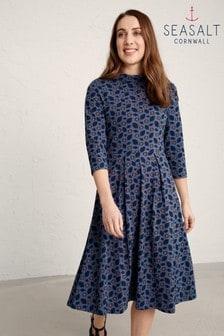 Seasalt Blue Carn Flower Wild Pansy Embossed Morval Dress