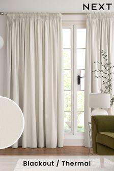 Light Natural Cotton Pencil Pleat Blackout/Thermal Curtains
