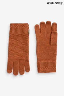 White Stuff Tan Moss Stitch Gloves