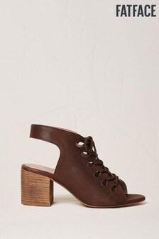 FatFace Chestnut Freya Lace Up Block Heel Sandals
