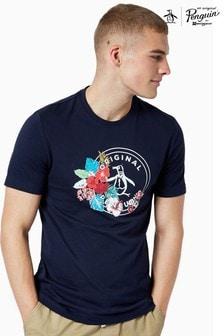 Original Penguin® Blue Floral Stamp Logo T-Shirt
