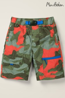 Mini Boden Green Pull-On Techno Shorts