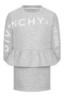 Girls Grey Fleece Logo Dress