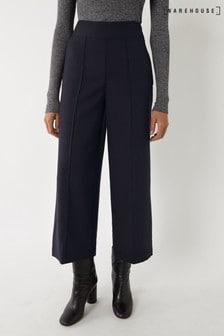 Warehouse Blue Pinstripe Wide Crop Trousers