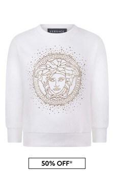 Girls Ivory Cotton Logo Sweater