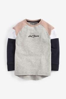 Long Sleeve Cosy Colourblock T-Shirt (3mths-7yrs)