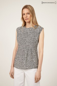 Warehouse Black Ditsy Floral Sleeveless Top