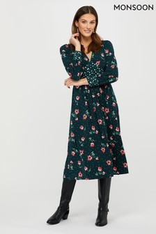 Monsoon Darla Ditsy Print Midi Jersey Dress