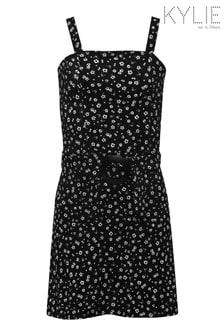 Kylie Black Ditsy Belted Dress