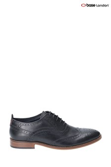 Base London® Black Focus Waxy Lace-Up Brogue Shoes