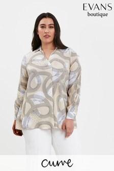 Evans Curve Beige Boutique Neutral Swirl Print Shirt