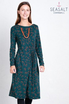 Seasalt Green Long Sleeve Woodland Solstice Dress Seed Head Dark Lake