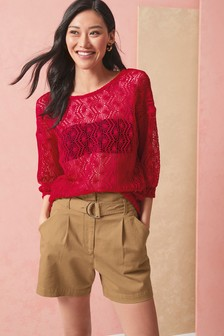 Next Women`s Shorts Print Khaki and Black Size 14,16,18
