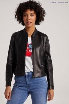 Tommy Hilfiger Black Slim Leather Varsity Jacket