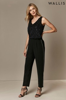 Wallis Black Diamanté Trim Trousers