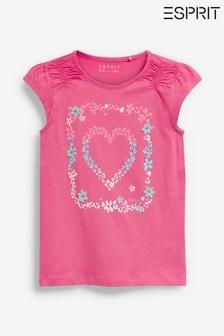 Esprit Pink Floral Heart Print T-Shirt