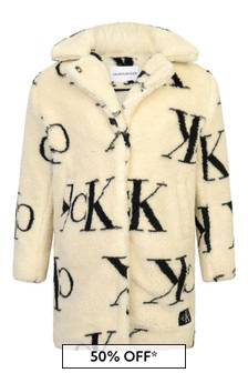 Girls Ivory Logo Teddy Coat