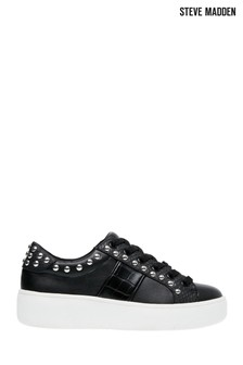 Steve Madden Black Belle Lace-Up Trainers