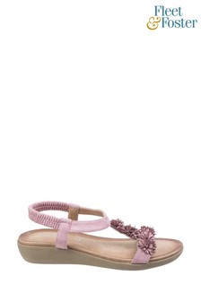 Fleet & Foster Pink Matira T-Bar Slingback Sandals
