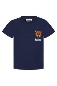 Moschino Kids Baby Boys Navy Cotton Unisex T-Shirt