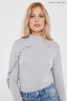 Mint Velvet Asymmetric Frill Detail Knit Jumper