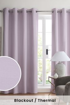 Lilac Purple Cotton Eyelet Blackout/Thermal Curtains