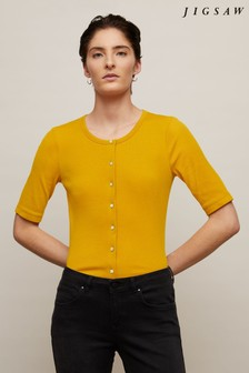 Jigsaw Yellow Ribbed Button Front T-Shirt